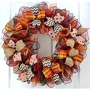 Fall Wreath | Maroon and Orange Fall Thanksgiving Burlap Deco Mesh Door Wreath; Yellow White : F2 55