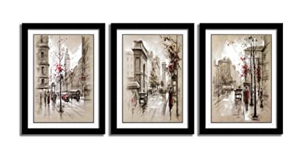 Amazoncom Hlj Art 3 Panels Black Frames Giclee White Mat Artworks