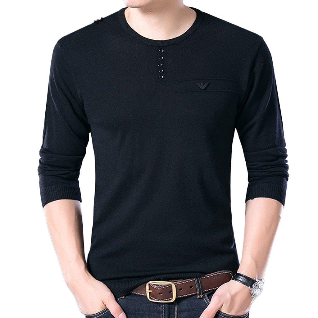 Nihiug Hommes's poloshirtsHommes's Polo Hommes's Polo Polo Hommesus Col Rond T-Shirt à Manches Longues Couleur Unie Coupe Fine Pulls Pour (Couleur   Noir, Taille   XL)