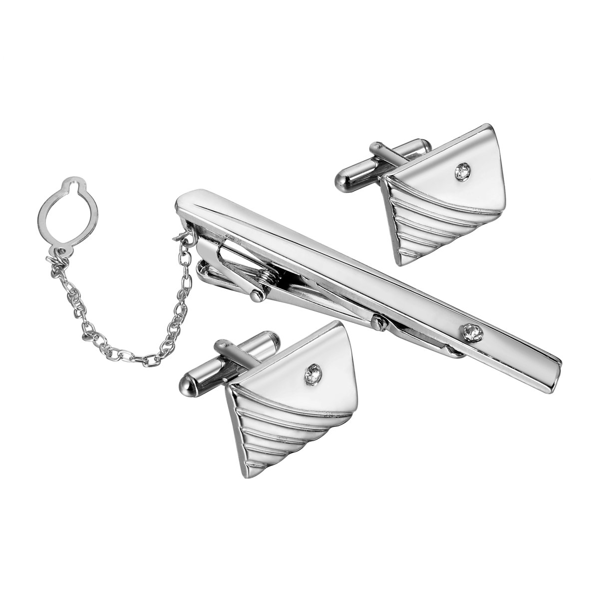 HooAMI Men's Crystal Metal Cufflink and Tie Clip Set,Silver
