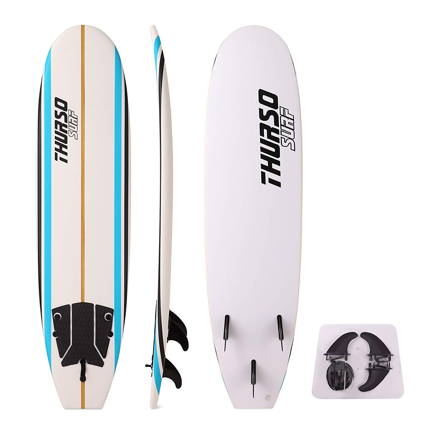 THURSO SURF Aero 7 ft Soft Top Surfboard Foam Surfboard Package Includes Three Fins Double Stainless Steel Swivel Leash EPS Core IXPE Deck HDPE Slick Bottom Built in Non Slip Deck Grip by THURSO SURF