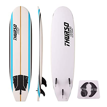THURSO SURF Aero 7 ft Kids Soft Top Surfboard Foam Surfboard Package Includes Three Fins Double