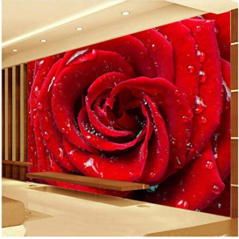 Xbwy Custom 3d Large Mural Big Red Rose Romántico Y Cálido
