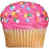 "iscream Sugar-riffic! Pink Icing Cupcake 17"" x 17"" Photoreal Print Microbead Accent Pillow"