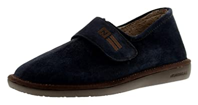 25c307ef9c8 Nordikas 374 Suede (Afelpado) Mens Leather Full Slippers Navy - Navy - UK  Size