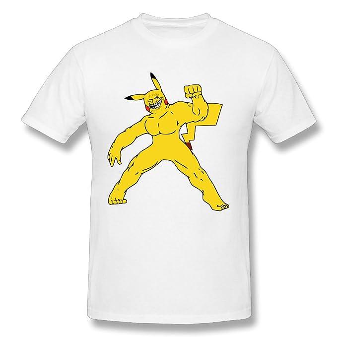 Hombre divertido de Pikachu Pokemon esteroides de manga corta camisetas blanco: Amazon.es: Ropa y accesorios