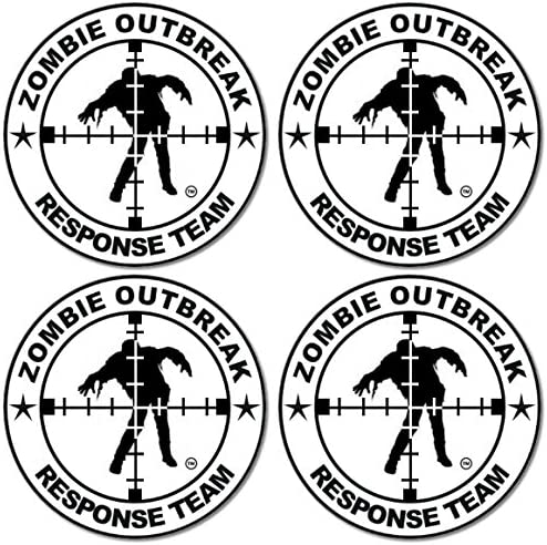 4 Inches Round SecurePro Products 4 Pack of Zombie Scoped Zombie Outbreak Response Team 3M Vinyl Decal Stickers