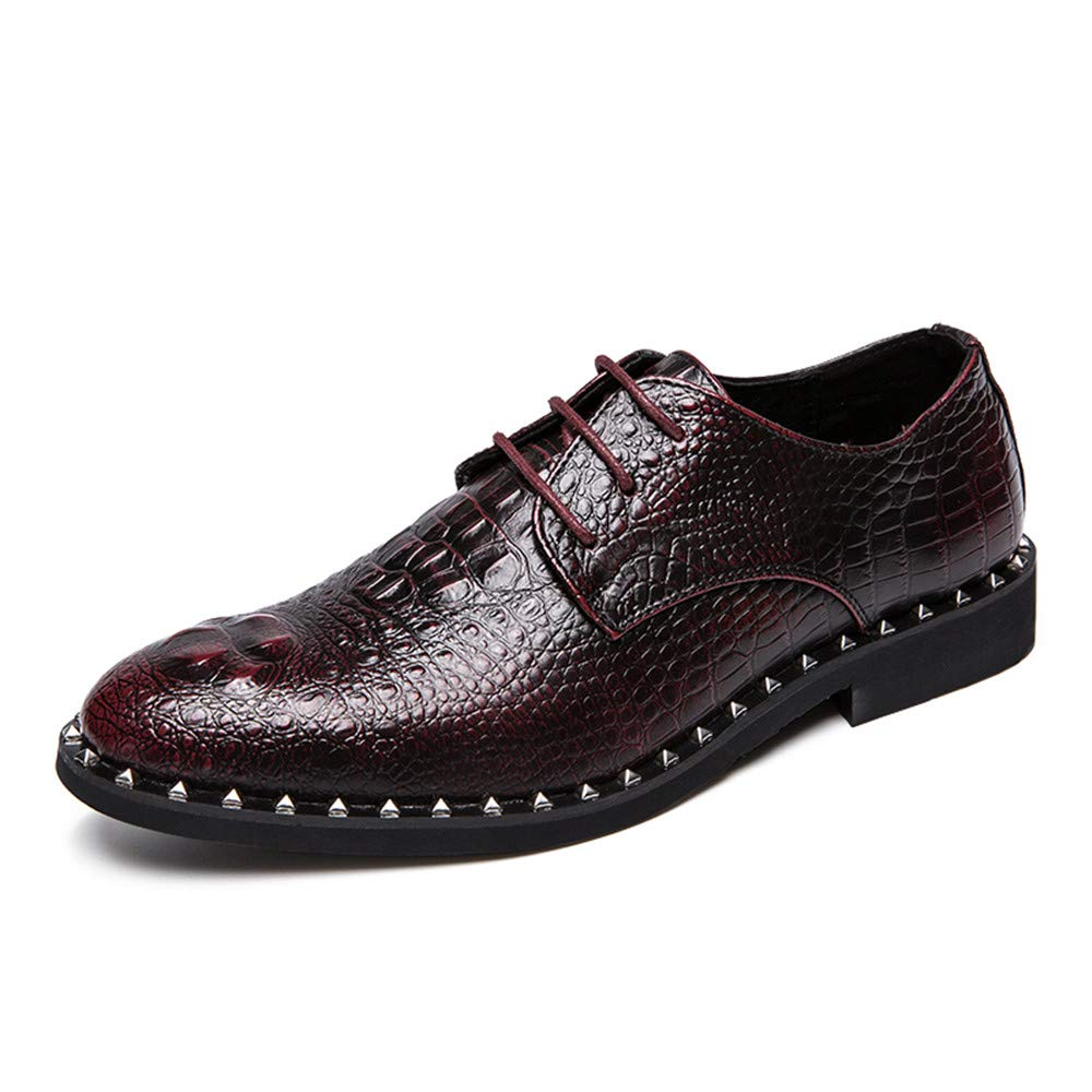 Für Herren die neue Mode 2018 Herren Für Business Oxfor Lässige neue Art von Crocodile Rivet Wische Farbe High End formale Schuhe Wein 0a3e89