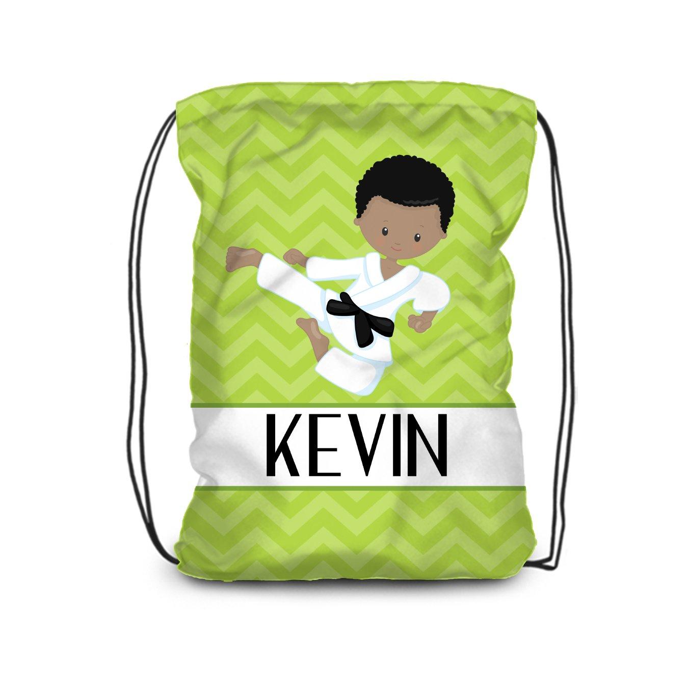 Karate Drawstring Backpack - Lime Karate Boy Personalized Name Bag