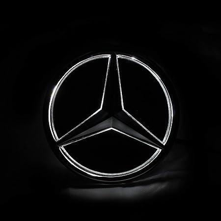 Motorfox Parrilla delantera con negro emblema de estrella de coche con luz LED blanca 2011-2020