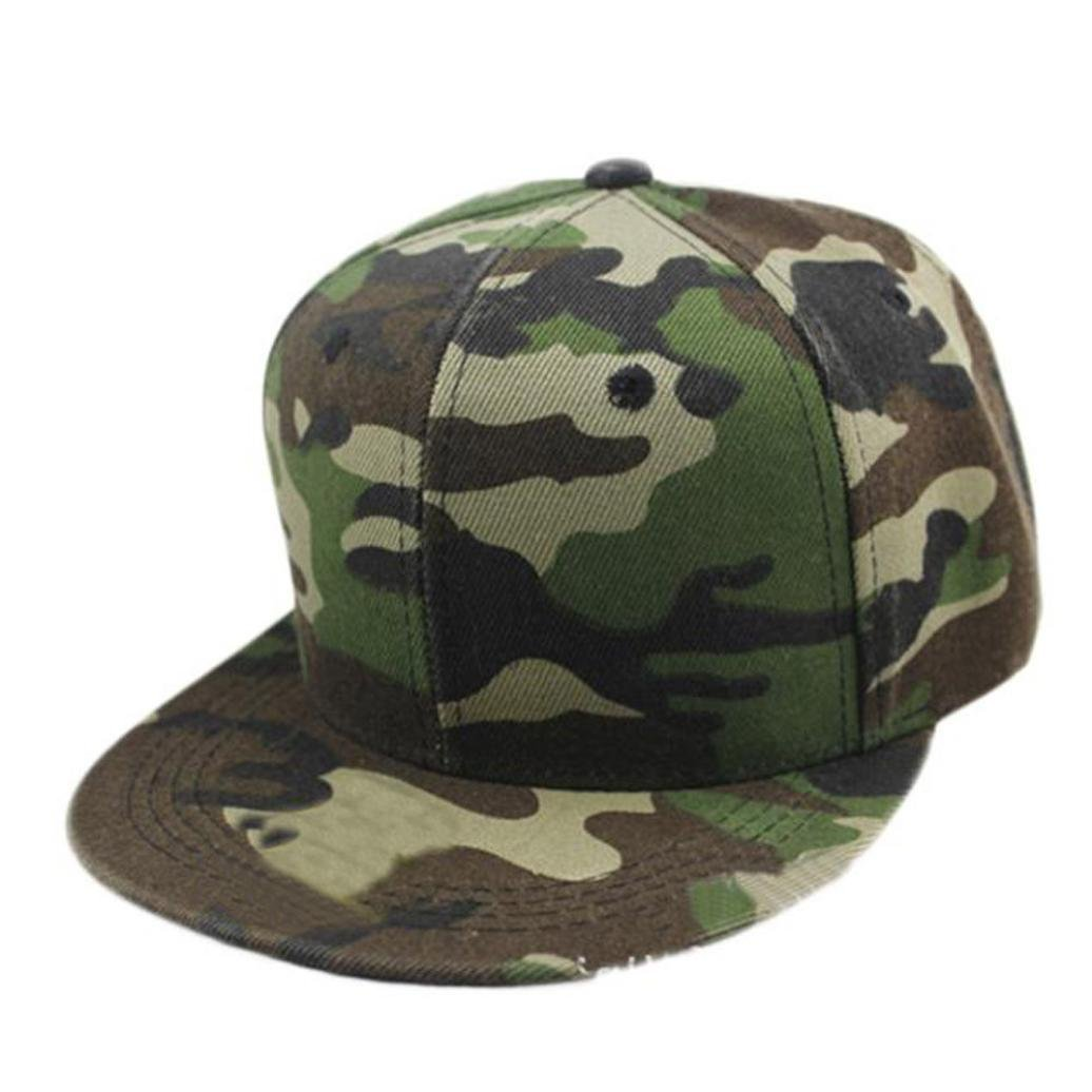 Kimloog Dance Hat, Camouflage Low Profile Adjustable Snapback Canvas Baseball Caps (Green)