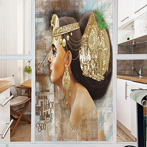 Decorative Window Film,No Glue Frosted Privacy Film,Stained Glass Door Film,Woman Queen Cleopatra Profile Historical Art Scene with Ancient Pyramid Sphinx Decorative,for Home & Office,23.6In. by 47.2I