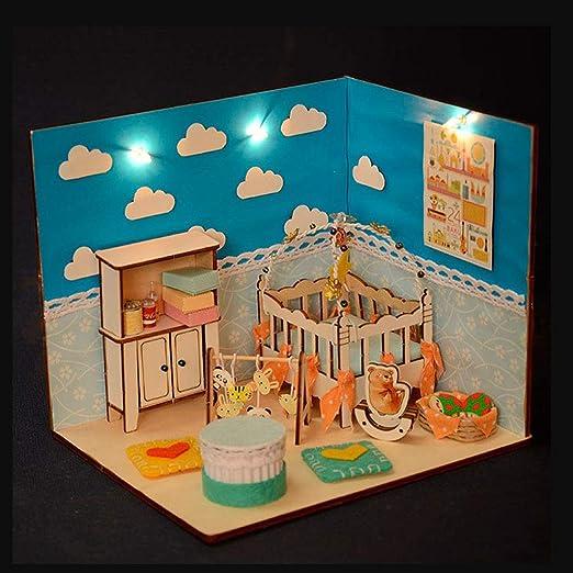 1:24 DIY Handcraft Miniatur Projekt Kit Holzpuppen  Schlafzimmer