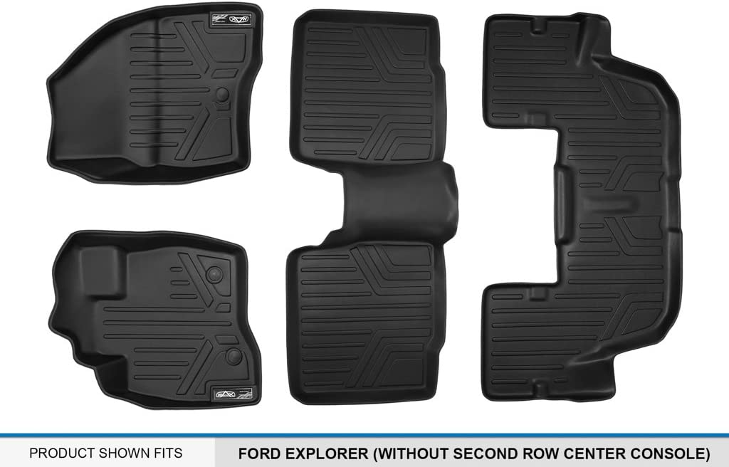 Without 2nd Row Center Console MAXLINER A0245//B0082//C0082 Floor Mats for Ford Explorer 3 Row Set Black 2017
