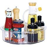 Lazy Susan - Organizador giratorio para gabinetes, 360 estantes giratorios de plástico transparente con divisores, organizado