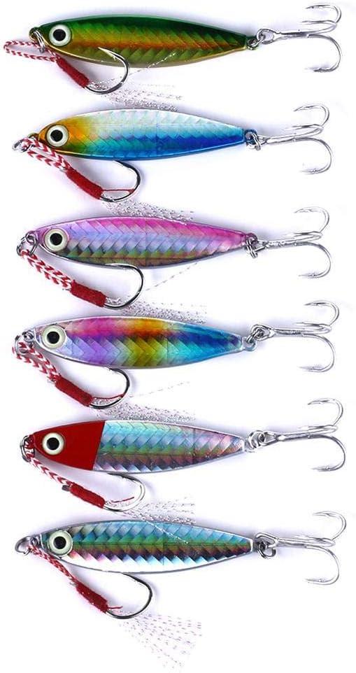 6pcs Iron Plate Fishing Lures Artificial Lead Jig Hard Baits w//Treble Hook