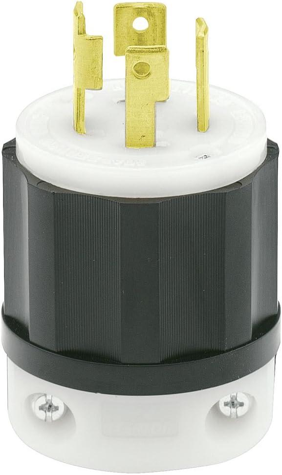 Leviton 2721 30 Amp, 250 Volt 3-phase, NEMA L15-30P, 3P, 4W, Locking Plug, Industrial Grade, Grounding - Black-White