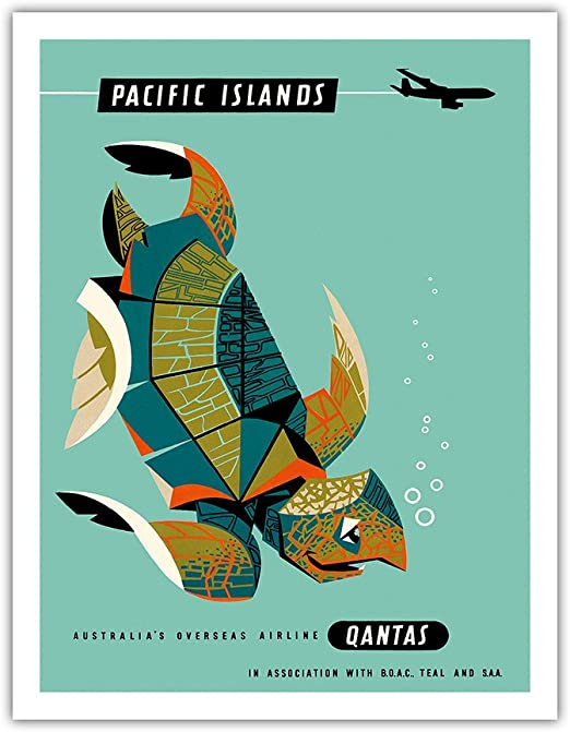 Vintage Pacific islands qantas turtle Travel Art Print Poster painting Australia