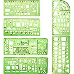 Hestya 6 Pieces Plastic Measuring Templates Building Formwork Stencils Geometric Drawing Rulers for Office and School, Clear Green