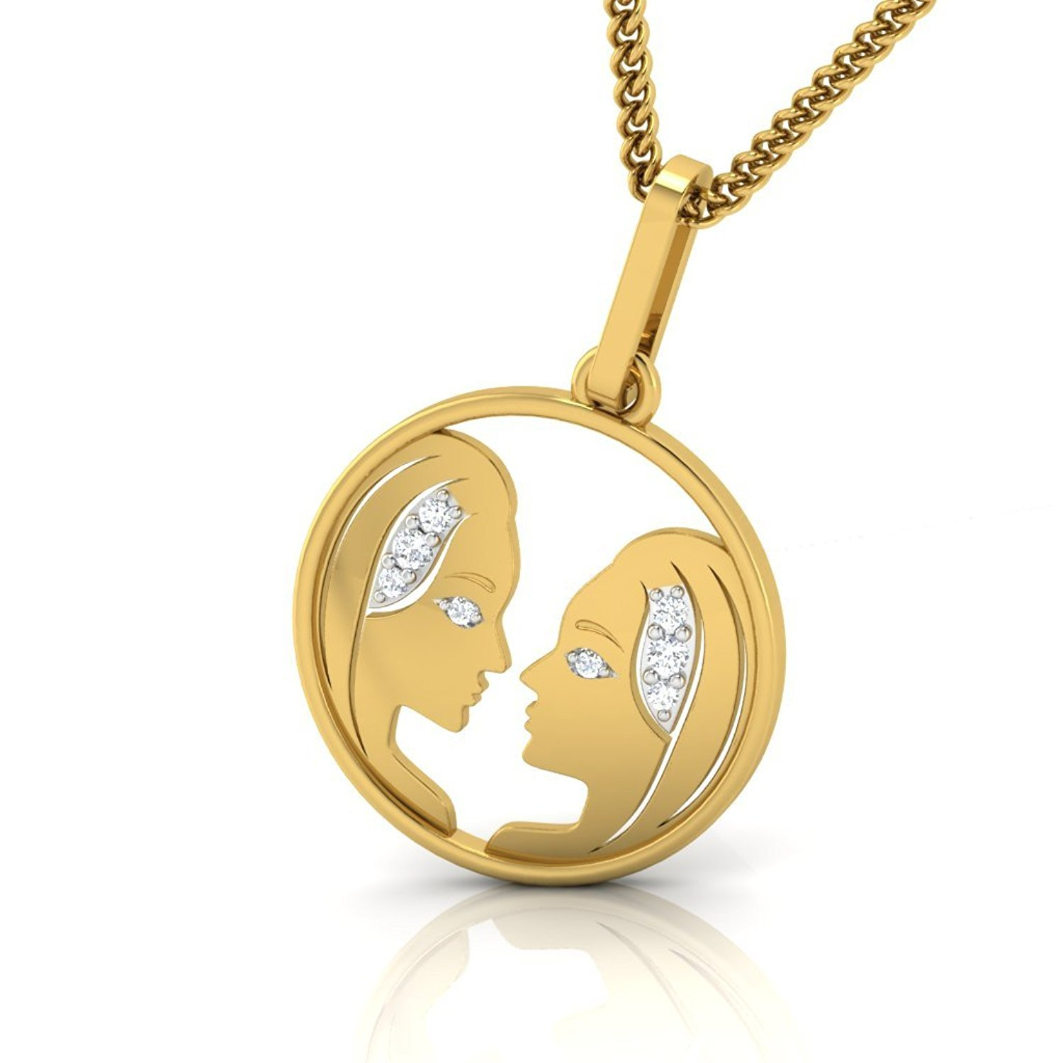 Suhana Jewellery Simulated Diamond Studded Zodiac Icon VIRGO Sign Pendant Necklace in 14K Yellow Gold Plated With Box Chain