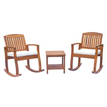 Outsunny 3PC Acacia Hardwood Garden Bistro Set 2 Rocking Chairs + Coffee  Table Outdoor Indoor Deck