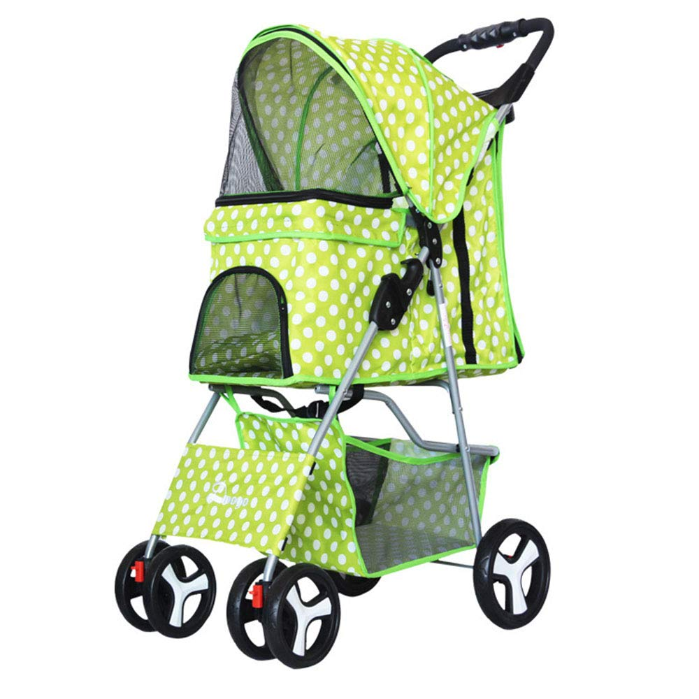 GreenWavepoint Pet Gear Pet Stroller for Cats Dogs, 4 Wheel Dog Pushchair Trolley Puppy Jogger, Easy Fold with Removable Liner, Storage Basket + Cup Holder