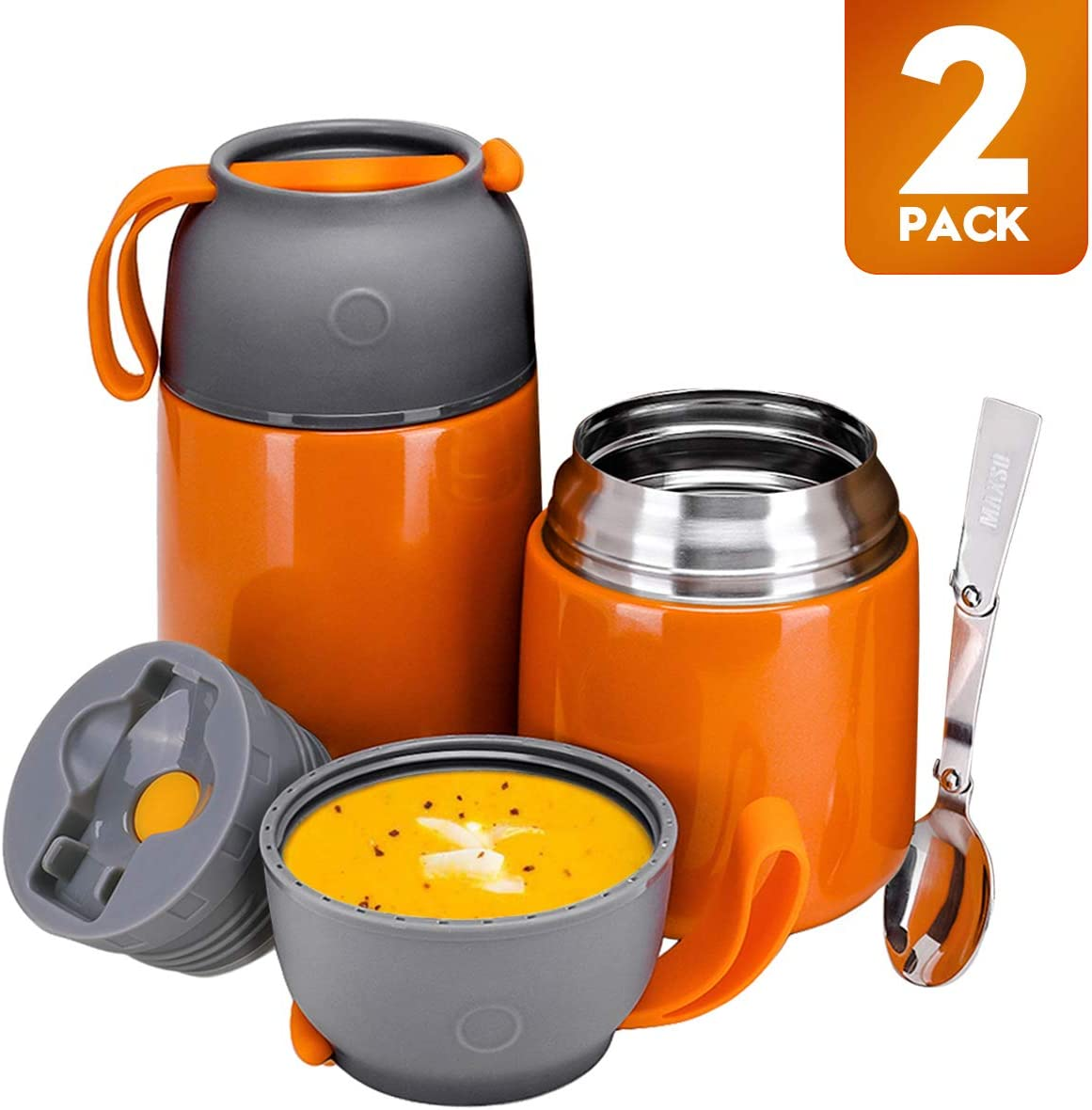 Vacuum Insulated Thermos Food Jar Hot Food Containers for Lunch,2 Pack Soup Thermos for Kids Adult,24 oz & 17 oz Stainless Steel Flask Containers Hot Cold
