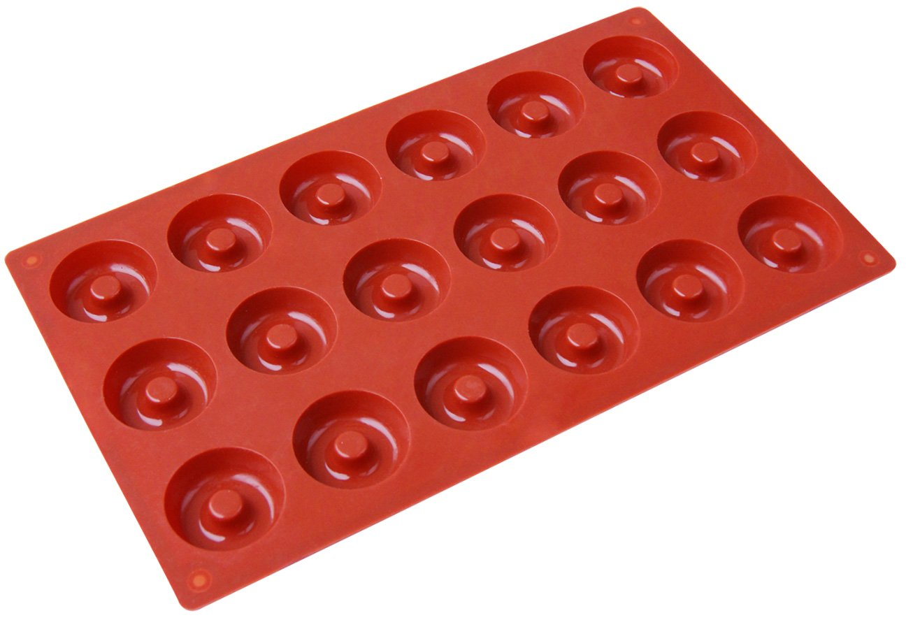 Ozera Silicone Mini Donut Pan, 18 Cavity Doughnut Baking Mold Tray - Muffin Cups, Cake Mold, Biscuit Mold, Red 12
