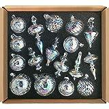 glasburg Glass Christmas Ornaments Iridescent Clear Size Medium(17 Ornaments)