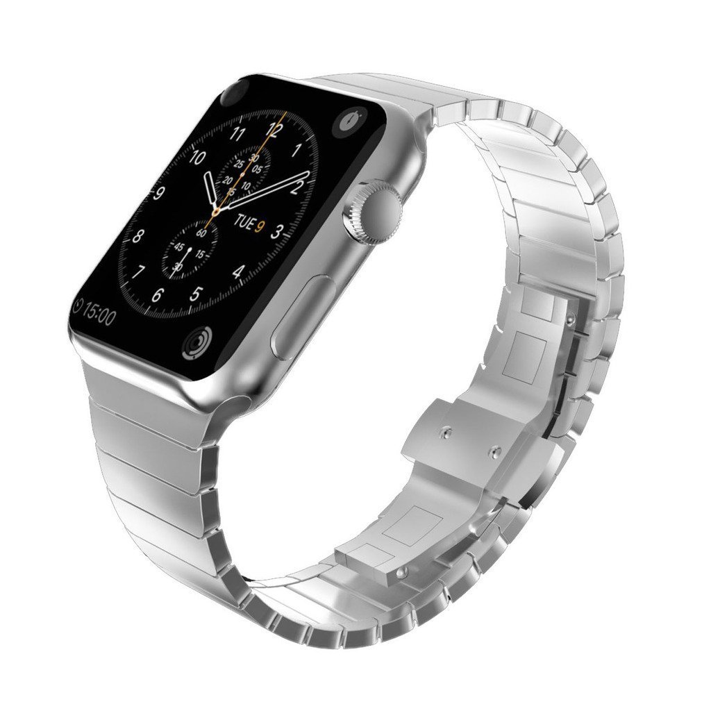 KADES Solid Stainless Steel iWatch Band Link Bracelet Compatible for 42mm Apple Watch Series 1/2/3 All Versions (1st Generation, Silver)