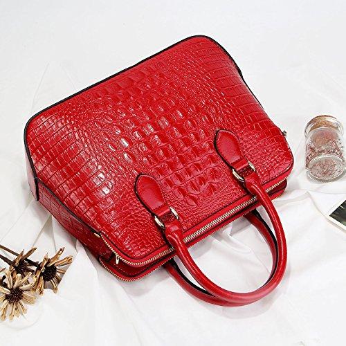 Porté en à Rouge à Cuir féminin luxe à Véritable main Femme cuir Main Sac motif Sac de Panzexin Sac Epaule crocodile t6qFaa