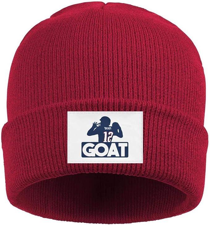 Red Tom Brady beanie with GOAT tag