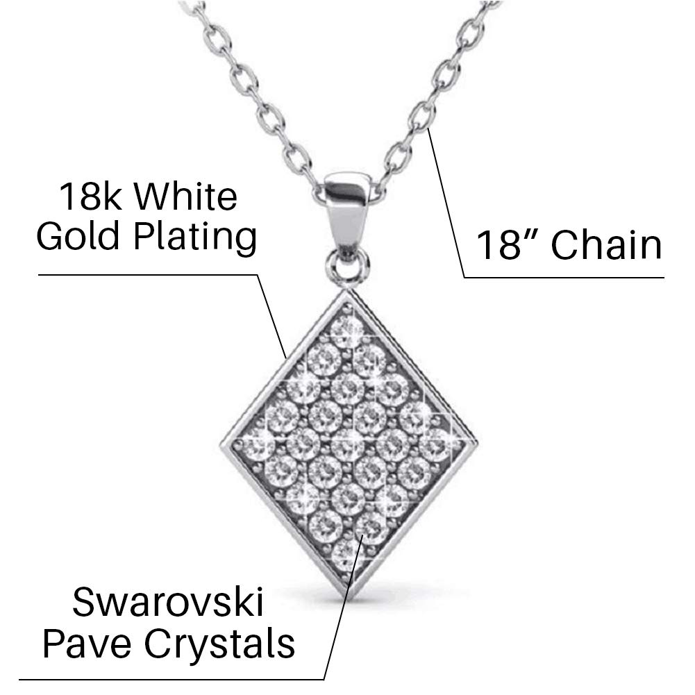 2dbd01c6b918f Cate   Chloe Lennon Esteemed Pave Pendant Necklace, Women s 18k White Gold  Plated Diamond Shaped Pave Stone Pendant with Round Cut Swarovski Crystals,  ...