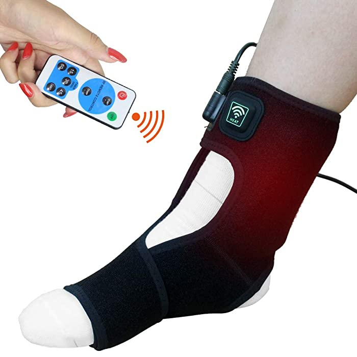 Creatrill Achilles Tendonitis/Plantar Fasciitis Heated Brace Wrap Support W/Remote Control, Auto Shut Off Foot Ankle Heating Pad, Moist Heat Therapy for Injuries Pain Relief Arthritis Heel Spur