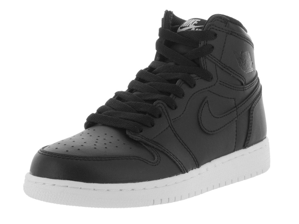 Jordan Nike Kids Air 1 Retro High OG BG Black/Black/White Basketball Shoe 4.5 Kids US
