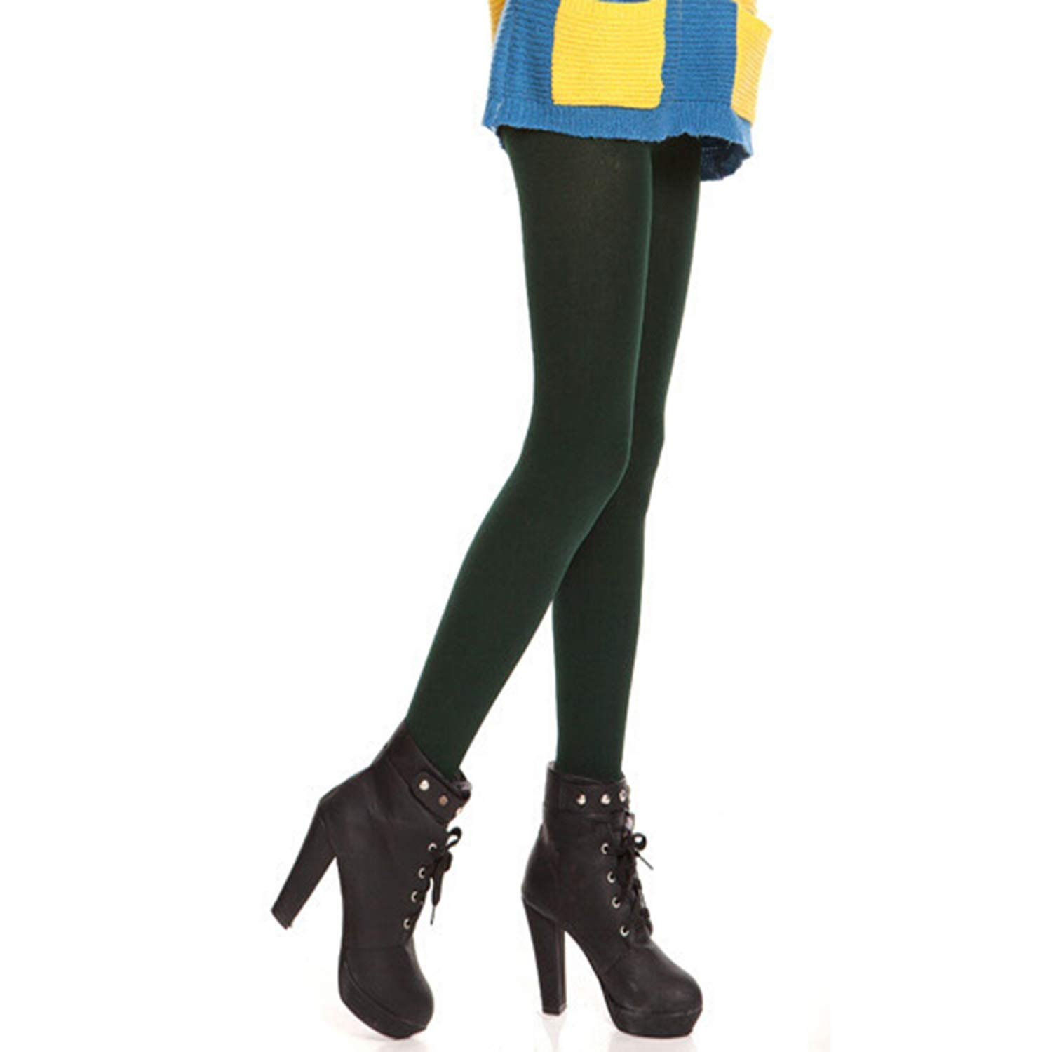 Women' s Opaque Thick Tights Footed/Footless Pantyhose Warm Leggings Pants Lichene