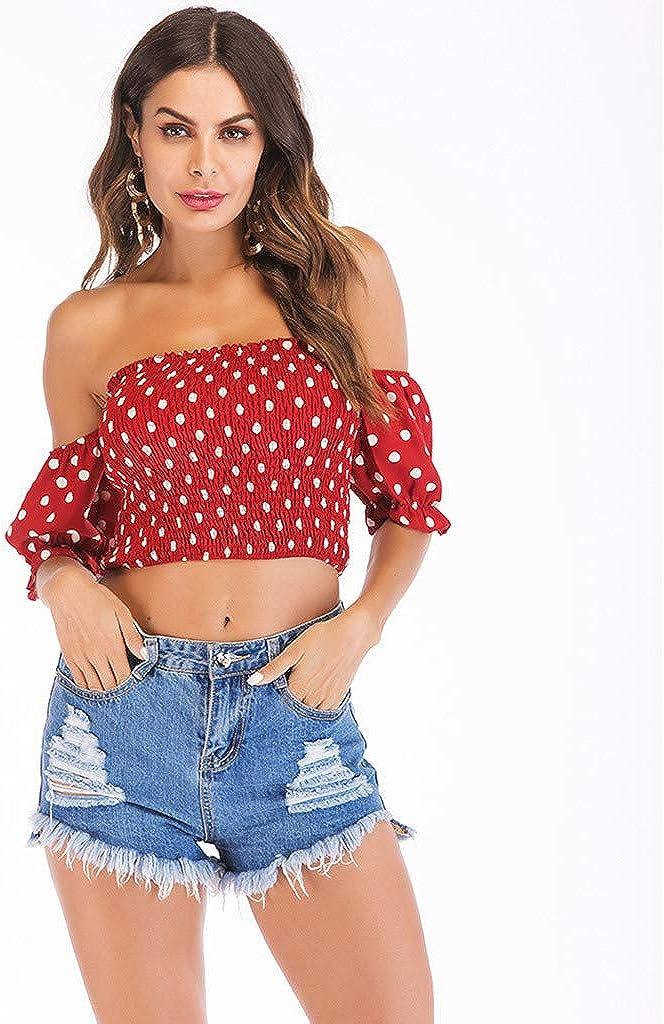 Women Dot V Neck One Shoulder Short Sleeved T-Shirt Blouse Summer Tank Tops