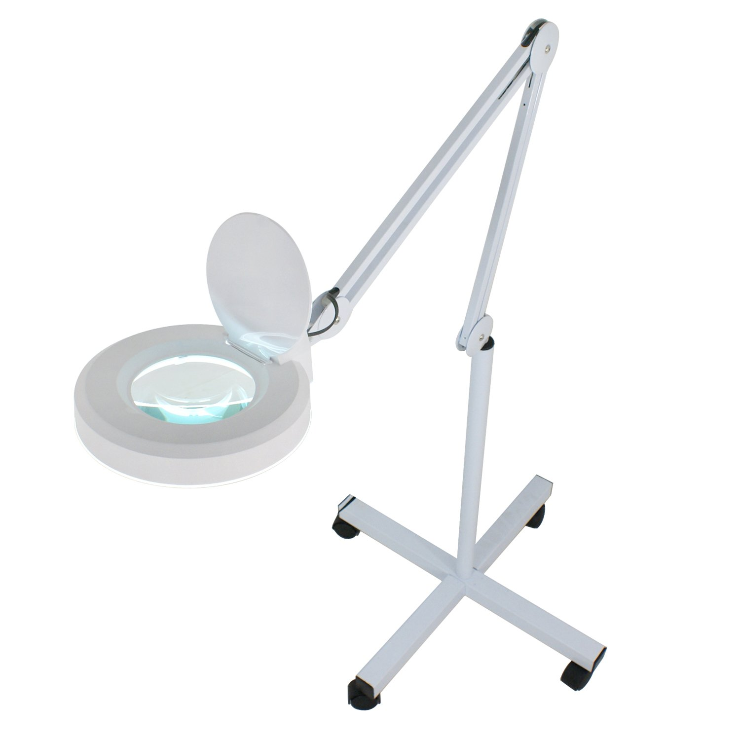 Super Deal Magnifier Lamp 5X Floor Magnifying Lamp - Adjustable Swivel Arm - Daylight Bright - Adjustable Mag Light - Rolling Stand by SUPER DEAL