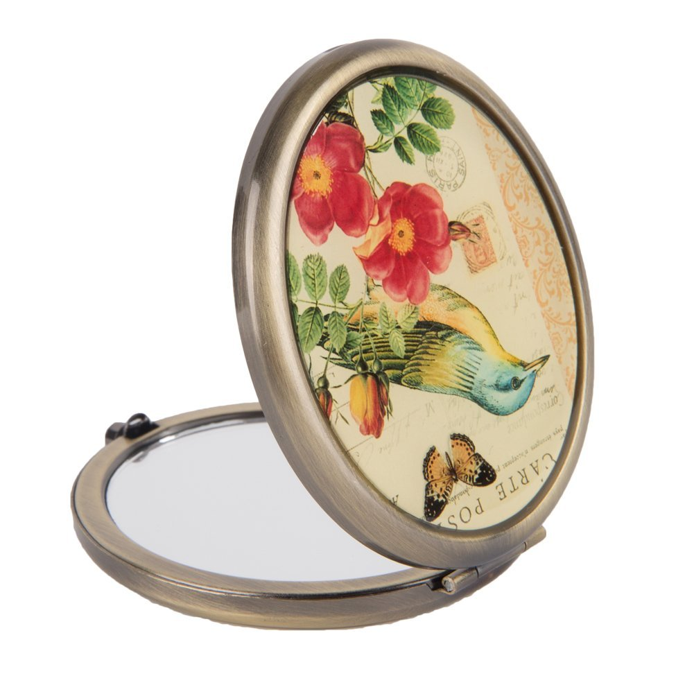 NIKKY HOME Vintage Birds Butterfly and Flower Oval Folding Magnifying Compact Mirror