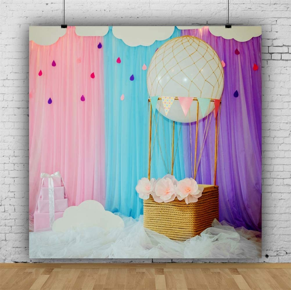 7/×5ft Photo Background Vinyl Hot Air Balloon Light Weight Newborn Photo Backdrops Decoration Background Wall Birthday Party Back Drops for Photos