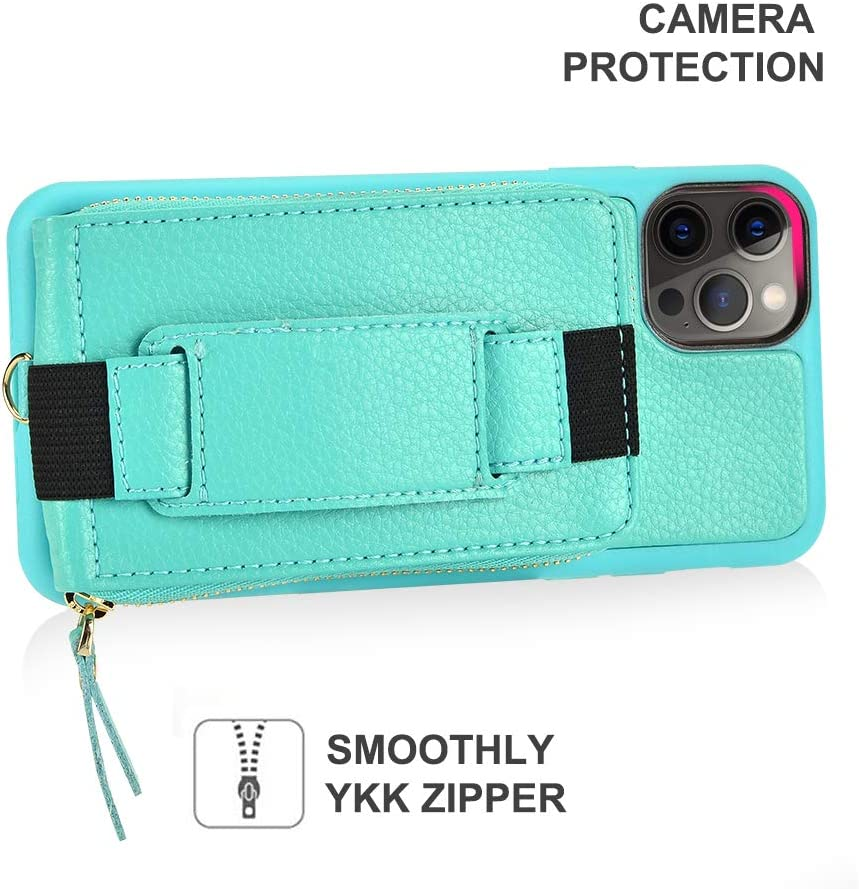 Zipper Case with Card Holder Compatible with iPhone 12 Pro Max Lanyard Wristlet Case with Kickstand Leather Case Handbag-Mint Green ZVEdeng Wallet Case Compatible with iPhone 12 Pro Max