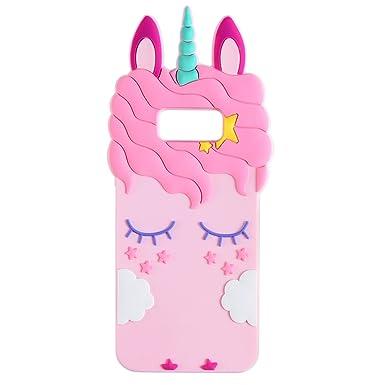 9f69b856b625 Liangxuer Pink Unicorn for Samsung Galaxy S7 edge,Soft 3D Silicone  Case,Cute Animal Rubber Cover,Cool Kawaii Cartoon Gel Cases for Girls  Kids.Fun ...