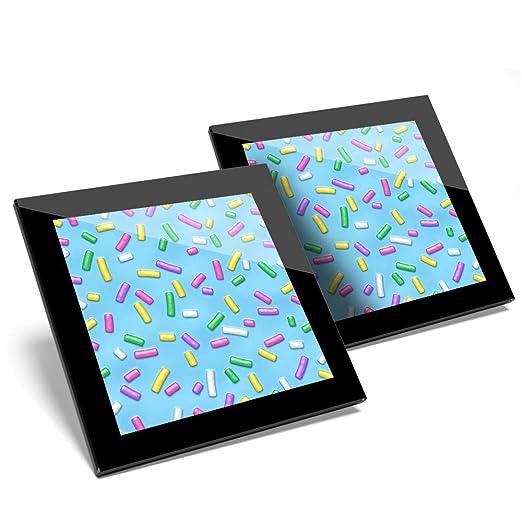 Impresionante juego de 2 posavasos de cristal, diseño de donas ...