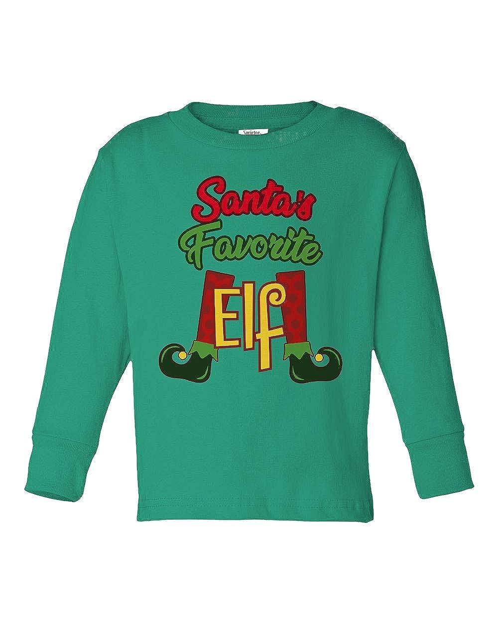 Societee Santas Favorite Elf Girls Boys Toddler Long Sleeve T-Shirt