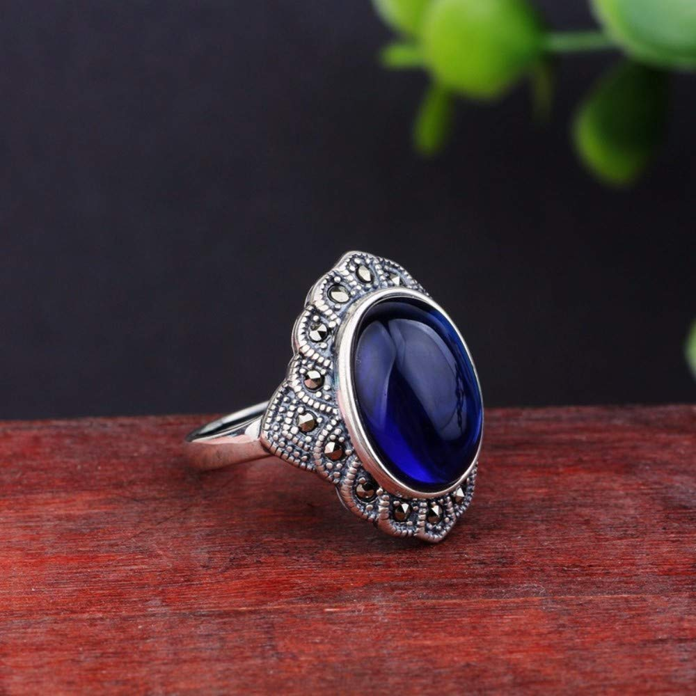 Vintage S925 Silver Ring Womens Simple Opening Lace Oval Blue Corundum Fashion Creative Gift Personality Trend