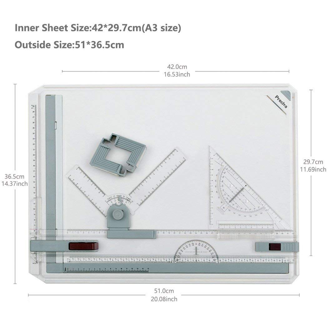 Preciva A3 Drawing Board 50.5 x 37cm Metric System, Drafting Board with Parallel Motion Accessories for Art and Design - White by Preciva (Image #4)