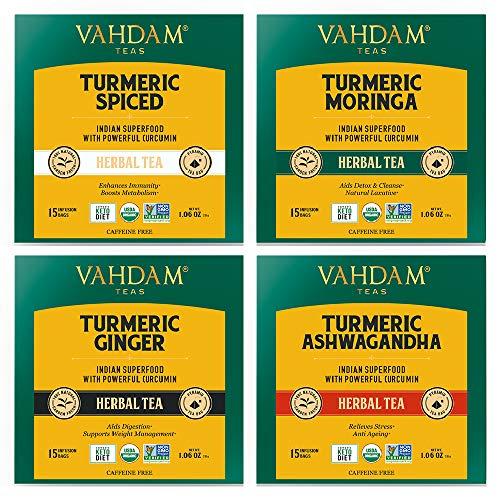 VAHDAM, Turmeric Wellness Tea Bags | 60 Tea Bags of Indias Wonder Spice | Turmeric Ginger, Turmeric Moringa, Turmeric Ashwagandha & Turmeric Spices (15 TB of Each) | Turmeric Tea for Weight Loss