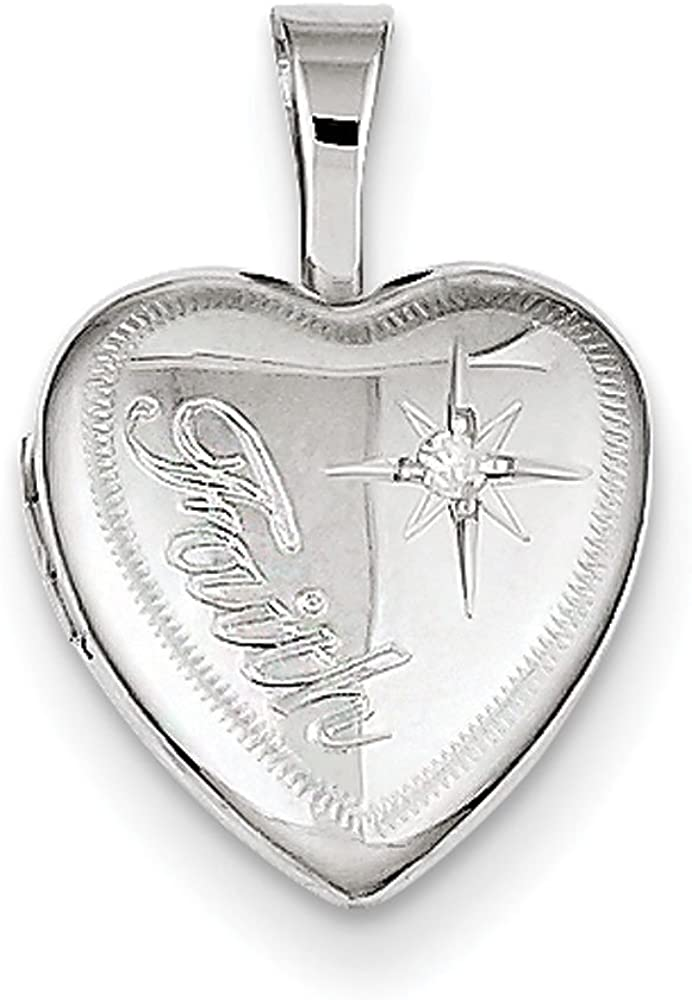 .925 Sterling Silver & Genuine Diamond Faith Heart Locket Charm Pendant
