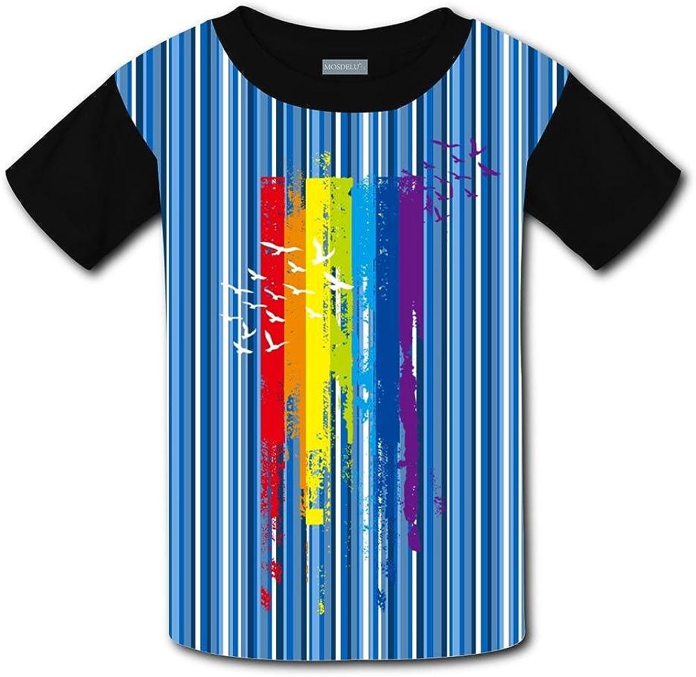 Kids//Youth Rainbow Art Line T-Shirts Short Sleeve Children Tees