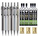 Drafting Pencil 15pc Set 6 Metal Mechanical Pencils, 6 Lead & 3 Erasers Deal (Small Image)